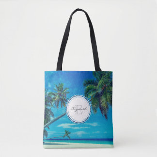 Sandy White Beach with Tropical Palms Monogram Tote Bag