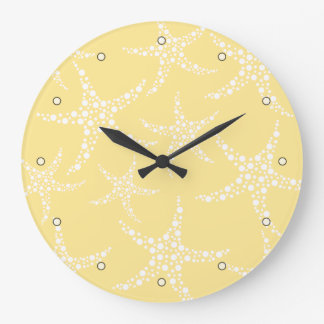 Sandy Yellow and White Starfish Pattern. Large Clock