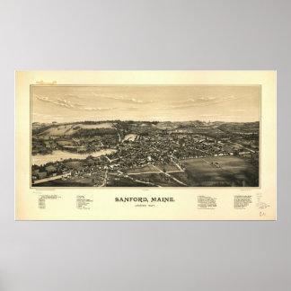 Sanford Maine 1889 Antique Panoramic Map Poster