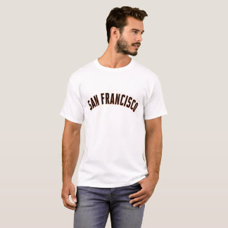SanFrancisco Sports font in Orange and Black T-Shirt