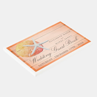 Sangria Beach Wood Wedding Guest Book