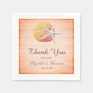 Sangria Beach Wood Wedding Paper Napkin