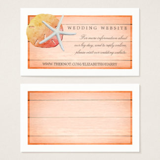 Sangria Beach Wood Wedding Website Business Card