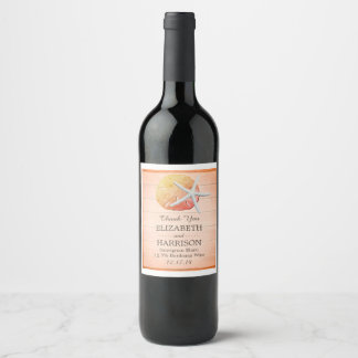 Sangria Beach Wood Wedding Wine Label