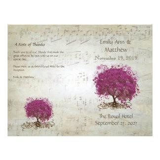Sangria Heart Leaf Tree Wedding Programs Custom Flyer