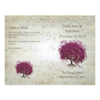 Sangria Heart Leaf Tree Wedding Programs Flyer
