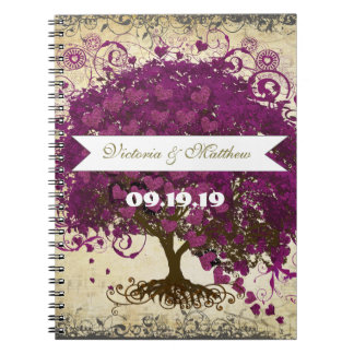 Sangria Magenta Purple Heart Leaf Wedding Notebooks