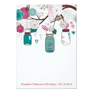 Sangria & Teal Mason Jars Birthday Invitation