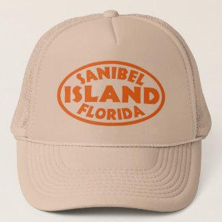 Sanibel Island Florida orange oval Trucker Hat