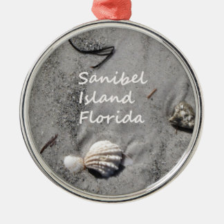 Sanibel Island Sand Shells Silver-Colored Round Decoration