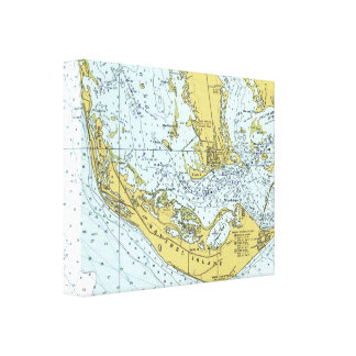 Sanibel Island vintage map Canvas Print