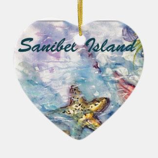 Sanibel Island Watercolor Florida Art Ceramic Heart Decoration