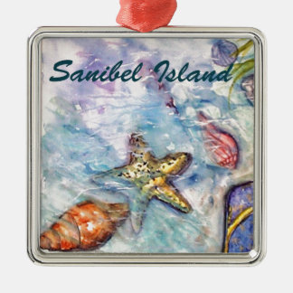 Sanibel Island Watercolor Florida Art Christmas Ornament