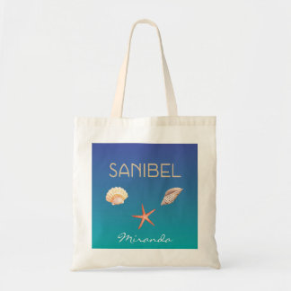 Sanibel with seashells and custom name tote bag
