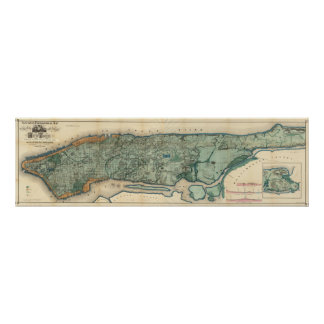 Sanitary and Topographical Map of New York City Poster