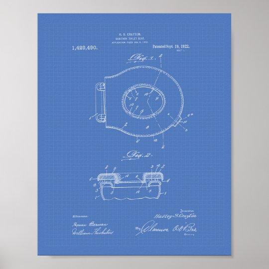 Sanitary Toilet Seat 1922 Patent Art Blueprint Poster