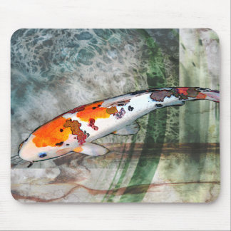 Sanke Koi in Abstract Blue & Green pond Mouse Pad