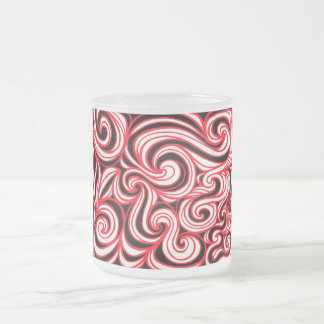 Sannes Abstract Expression Red White Black Frosted Glass Mug