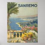 Sanremo Italy Vintage Scenic Coastal Art Print