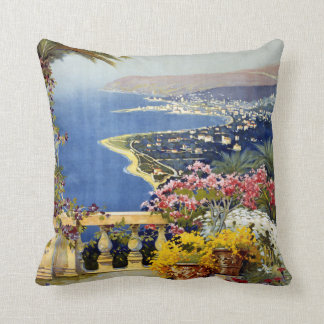 Sanremo Italy vintage travel throw pillow