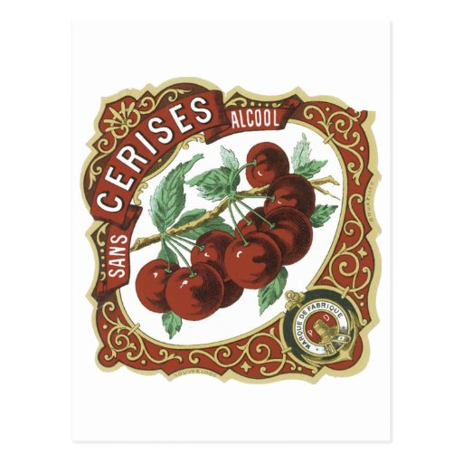 Sans Cerises Alcool Vintage Label Post Cards
