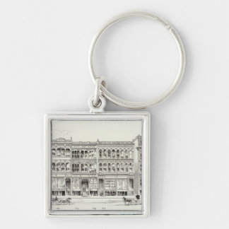 Sansome West side Pine and California Silver-Colored Square Key Ring