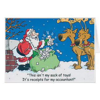 Santa Accountant Receipts Funny Christmas Cards