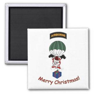 santa airborne parachute square magnet