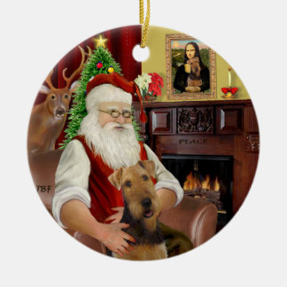 Santa-Airedale Christmas Ornament