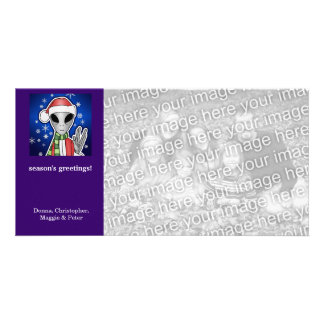 Santa Alien Christmas Holiday Photo Card