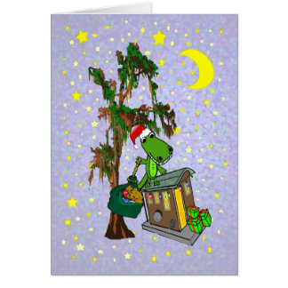 Santa Alligator Cajun Bayou Christmas Card