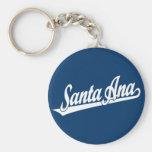 Santa Ana script logo in white Key Chain