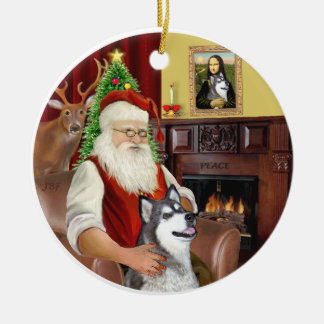 Santa and a Alaskan Malamute Round Ceramic Decoration