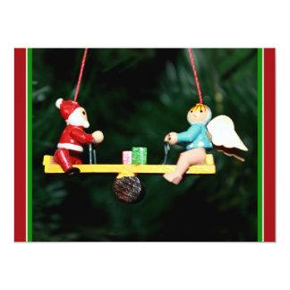 Santa And Angel Teeter Ornament 17 Cm X 22 Cm Invitation Card