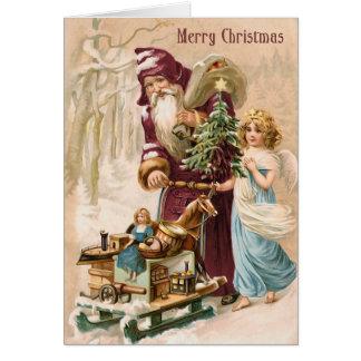 Santa and Angel Vintage Christmas Card