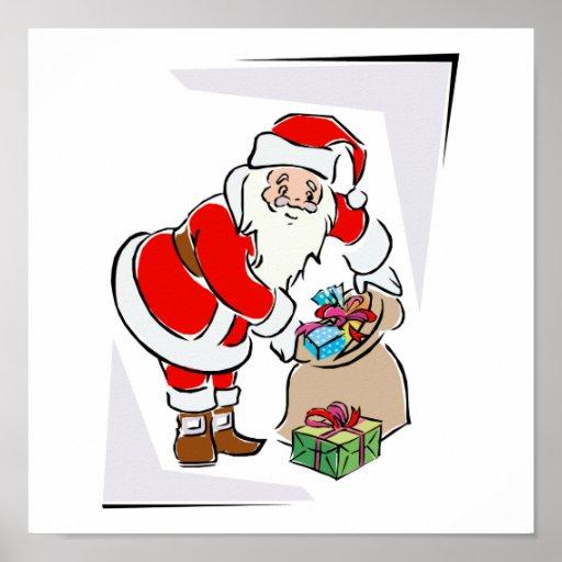 Santa and bag of goodies posters