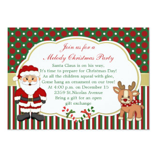 Santa and candycanes Christmas Party 11 Cm X 16 Cm Invitation Card
