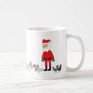Santa and Chickens Coffee Mug