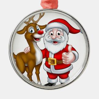 Santa and Christmas Reindeer Christmas Ornament