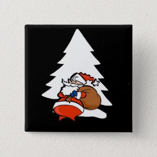 Santa And Christmas Tree Christmas Button