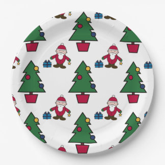 Santa And Christmas Tree paper Paper Plate
