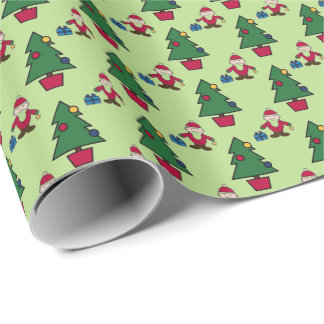 Santa And Christmas Tree Small Wrapping Paper