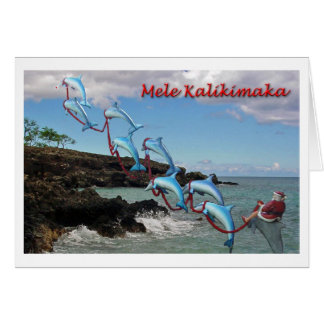 Santa and Dolphins Mele Kalikimaka Card