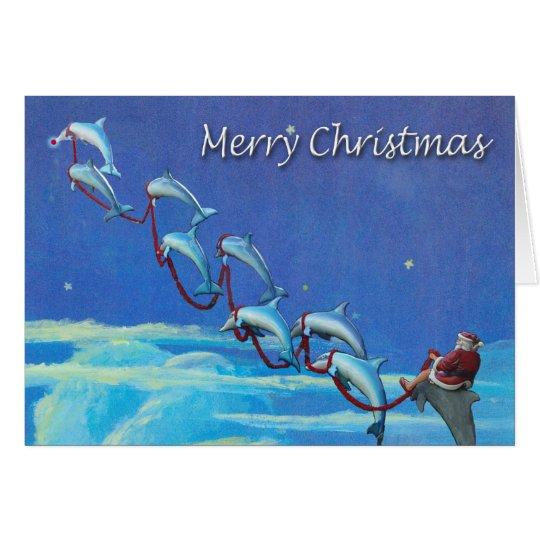 Santa and Dolphins Night Sky Christmas Card