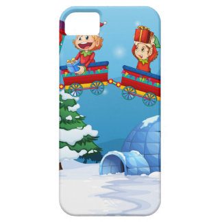 Santa and elf riding on train case for the iPhone 5