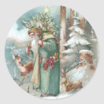 Santa and Forest Animals Vintage Christmas Round Stickers