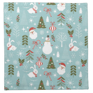 Santa And Forest Pattern Napkin