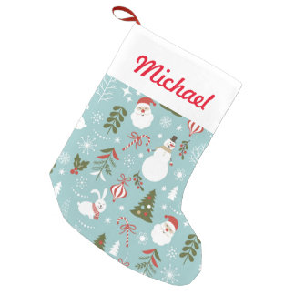 Santa And Forest Pattern Small Christmas Stocking
