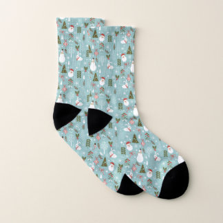 Santa And Forest Pattern Socks