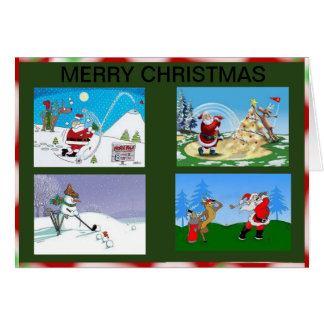 Santa and friends golfing on a Christmas card